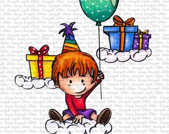 Image #29 - Birthday On Clouds - Digital Stamp by Sasayaki Glitter digital Stamps - Naz - Line art only - Black and white