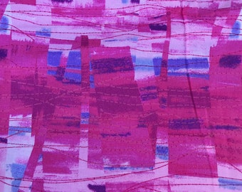 1 1/3 Yards of Vintage Fuchsia Pink and Blue Abstract Print Cotton Fabric