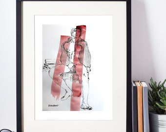 Original Ink Drawing - male model, watercolor, male nude art, original pen & Ink, erotic art, original art, male nude, gay art, male figure