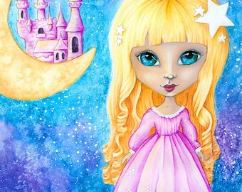 Princess Dreams - Mixed Media Girl - Fine Art Print