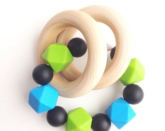 Double Wood Teether Ring, Baby Teething Toy, Food Grade Silicone Beads, Sensory Toy, Wooden Ring Teether, Silicone Ring, Wood Ring Teether
