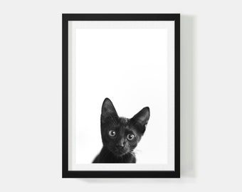 Black Cat Print Animal Decor Poster Black Cat Minimalist Poster Black White Animal Art Print Scandinavian Poster Cute Cat Poster