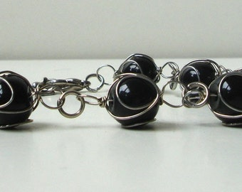 Black glass bead bracelet - wire wrapped - adjustable