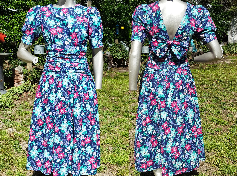 Bold Floral Dress 80s Dress Paquette Too Vintage Dress 80s