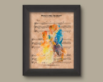 Beauty and the Beast Watercolor, Disney Wedding Gift, Disney Anniversary Gift For Her, Belle And Beast, Wall Decor, Sheet Music Art Print