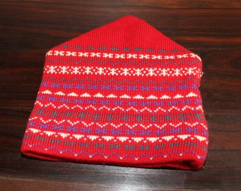 70s Red Wool Ski Hat Blue USA Dow Hill Racing