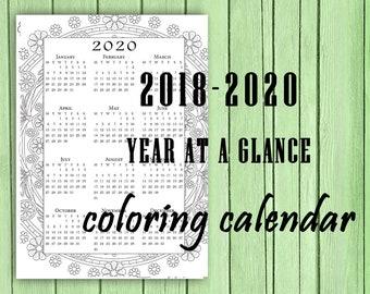 A4 digital Mandala Coloring Calendar 2018, 2019, 2020. Year at a glance. Mandala Pattern, Sunday and Monday week start, Year at a glance