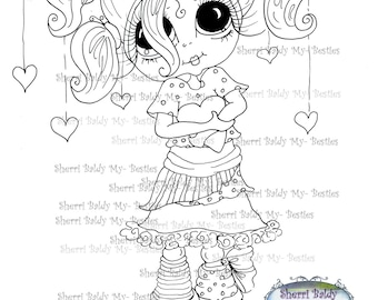 INSTANT DOWNLOAD Digital Digi Stamps Big Eye Big Head Dolls  IMG163 By Sherri Baldy