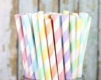 Easter Favors Straws Pastel Straws Spring Straws Mix Stripe Drinking Straws Baby Shower Table Utensil Baby Shower Favors Striped Tableware