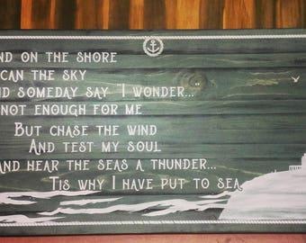 The sea. large nautical sign. nautical decor. sailing. nautical quote. farmhouse nautical style. lighthouse. lighthouse sign.large plank