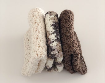 Crochet Cotton Washcloth Set / Crochet Cotton Dishcloth Set / Washcloths / Dishcloths / Brown / Brown Ombre