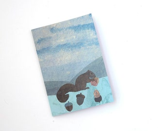 A5 Notebook with Squirrel and Acorn Illustration