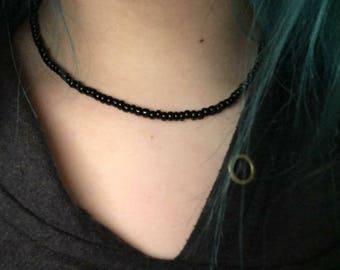 Black Czech Seed Bead Understated Choker Necklace Layering Boho Gift For Her Bracelet