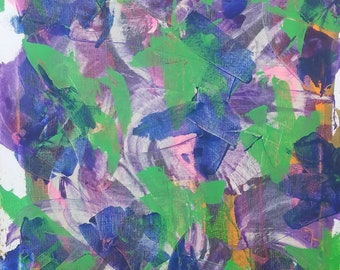"Green, Purple, Pink, Blue, Orange, White Original Acrylic Abstract Painting on Canvas ""Series 2 XXXIV"" 16x20"" Wall Art Decor"
