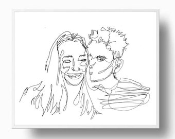 Custom Single Line Drawing, one line portrait, continuous line art