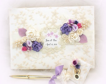 Wedding Guest Book Purple Pink Ivory Gold Personalized Guestbook Vintage Signature Book Guests Sign In Book for Guests Wedding Keepsake