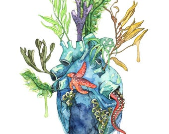 "Watercolor Painting, Anatomical Heart, Anatomical Heart Print, Heart, Human Heart, Ocean Heart, Ocean Painting, Sea,Print title""Overflowing"""