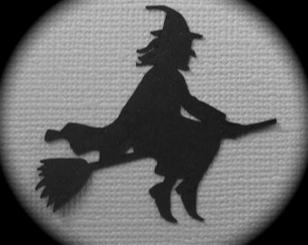 Witches on brooms! 24 quality die cuts