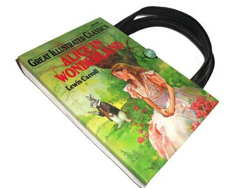 Book Purse Alice In Wonderland Book Handbag, Altered Recycled Book, Upcycled Handmade Clutch