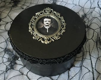 Black Edgar Allan Poe Round Jewelry Trinket Box