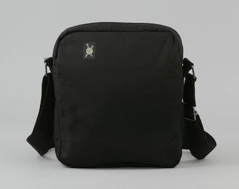 All Black Small Crossbody Bag, Zipper Closure, Womens Mens, Fabric Crossbody, Punk Rock, Goth, Tour Bag, No Print, No Design, with Pockets