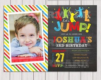 Jump invitation, Bounce house invitation, Trampoline party invitation, Trampoline birthday invitation, Photo invitation Printable DIY