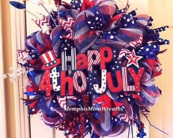 Fourth of July Patriotic Deco Mesh Wreath - Deco Mesh Wreath - Patriotic Wreath - Fourth of July Wreath - Summer Wreath