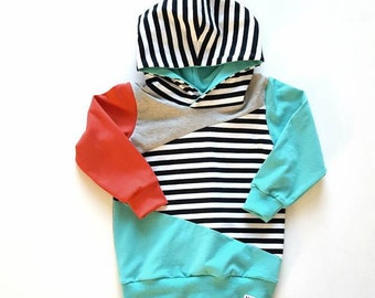 Teal Coral and Stripes Color Block Hoodie