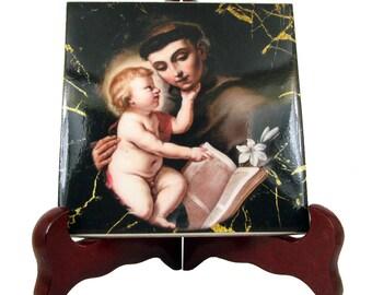 Catholic Saints - St Anthony of Padua - catholic icon on ceramic tile - Saint Anthony - catholic art - religious gifts - religious art