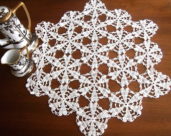 Hand Crocheted Vintage Doily / Large Open Work Doily / White Cotton Doily / Table Topper / Centerpiece / 1950's