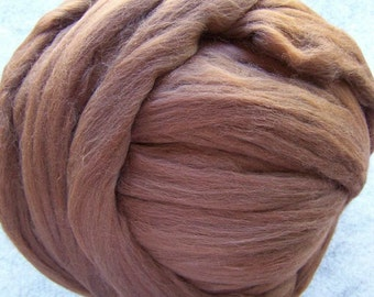 Merino Wool Roving, Wool Roving, Merino Roving, Brown Wool Roving, Brown Roving, Felting Wool, Spinning Wool - Brown - 8oz