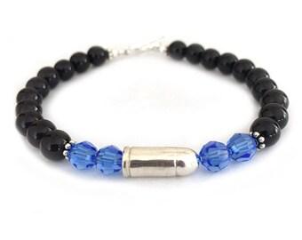 Thin Blue Line Sterling Silver Bullet Bracelet for Women