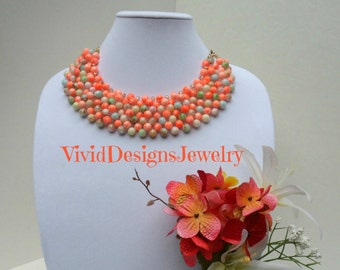 Multi Color, Coral, Layered Bib Statement Necklace - Chunky Bubble Necklace