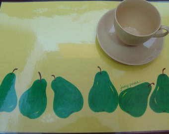 """Table Decor Placemats """"Juicy Pears..."""" / Plastic Placemat / Pale Green Placemat"""