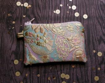 Gold Rush Sugar Pouch - Lined Zip Zipper Purse - Pastel brocade gilt - blue pink sweet golden -one of a kind Handmade in USA Moth & Rust
