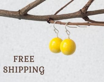 Yellow earrings, Canary yellow earrings, Yellow drop earrings, Yellow dangle earrings, Gelbe Ohrringe, Pendientes amarillos Orecchini gialli