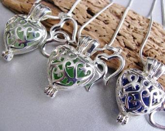 Sea Glass Heart Lockets - Wedding Necklaces - Bridesmaid Necklaces - Ocean Jewelry