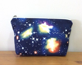 Zipper pouch - space print / cosmetic pouch / makeup bag