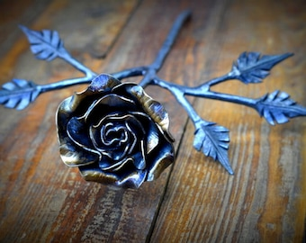 Metal Rose * Steel Rose * Rose Art * Bloom Sculpture * Blacksmith Made * Rose Sculpture * Anniversary Gifts for Women * Anniversary Gift