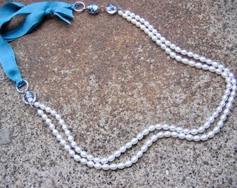 Eco-Friendly Ribbon Necklace - Not Your Grandmother's Pearls - Vintage Ribbon, Glass Pearls & Clear Beads with Splashes of Purple and Blue