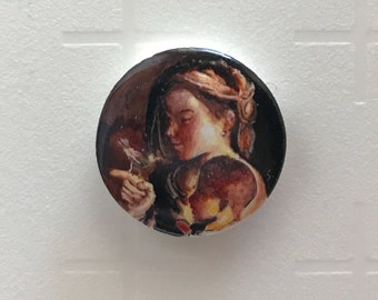 Hand painted ceramic Badge technique third fire, Madonna del Sparrow (Guercino, 1615)
