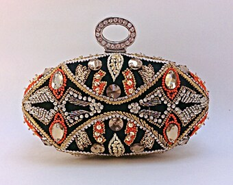 Fine art work of rhinestone thread embroidery,unique clutch,beaded clutch,party clutch,evening bag,prom clutch,embellished clutch,Crystalbag