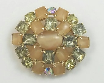 Oval Shaped Yellow Taupe Opaque and Clear Rhinestone Glass Brooch Pin Unsigned