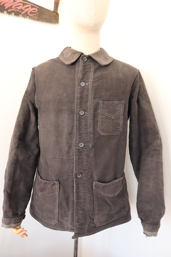 """Vintage 1930s 30s French faded black moleskin chore work barn jacket noir de travail round collars 43"""" chest workwear faded repaired"""
