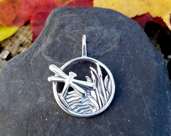 Sterling Silver Dragonfly & Cat Tail Pond Pendant