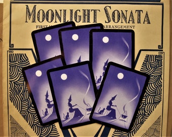 Six Witch Cards, Fortune Telling Cards, Purple, Black and White