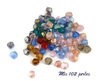 102 turned beads / helix - mix of beads 5mm