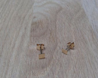 Gold plated square chip earrings