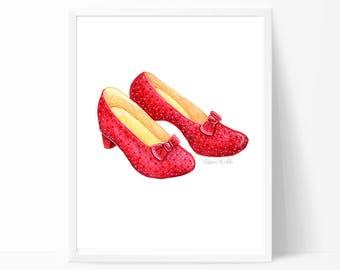 Ruby Slippers Print, Wizard of Oz, Wizard of Oz Art, Ruby Slippers Art, Nursery Wall Art, Kids Room Art, Printed + Shipped