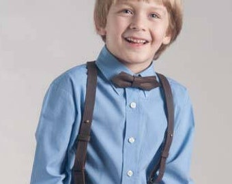 Boys Leather Suspenders and Bow Tie Y-Back Vintage Brown Braces Button Set of Wedding Suspenders and bowtie